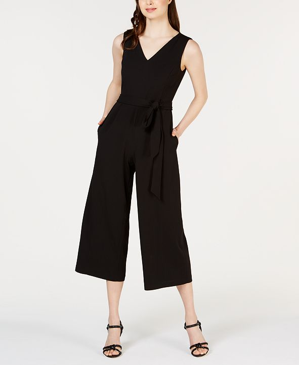 Calvin Klein V-Neck Belted Cropped Jumpsuit
