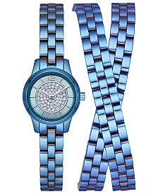 LIMITED EDITION  Michael Kors Women's Petite Runway Blue Stainless Steel Triple-Wrap Bracelet Watch 19mm, Created for Macy's