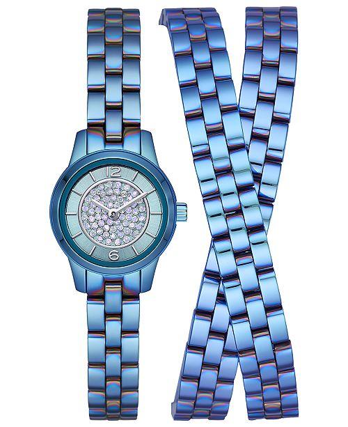 Michael Kors LIMITED EDITION  Women's Petite Runway Blue Stainless Steel Triple-Wrap Bracelet Watch 19mm, Created for Macy's