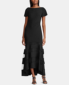 Lauren Ralph Lauren Tulle-Panel Sheer Gown