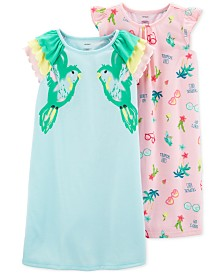 Carter's Little & Big Girls 2-Pack Tropical-Print Nightgowns