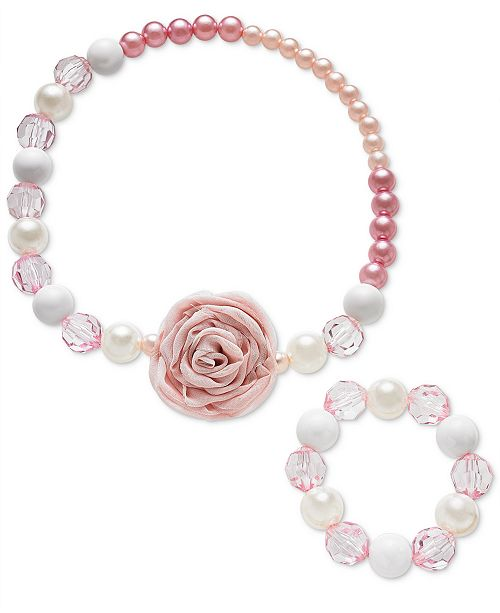 Frozen On the Verge Little & Big Girls 2-Pc. Rose-Detail Necklace & Bracelet Set