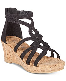 Little & Big Girls Braided-Strap Cork Wedge Sandals
