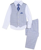 e46c429e8ddf Nautica Little Boys 4-Pc. Double Windowpane Vest Set