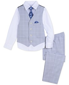 Nautica Little Boys 4-Pc. Double Windowpane Vest Set