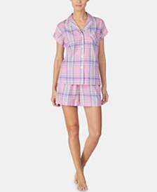 Lauren Ralph Lauren Woven Top and Boxer Pajama Shorts Set