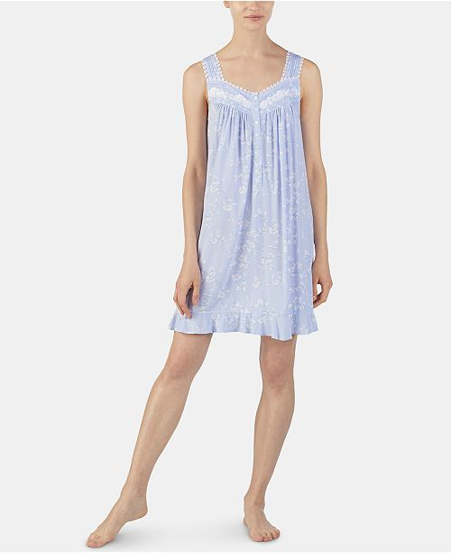 Eileen West Printed Venise Lace Trim Jersey Knit Chemise Nightgown