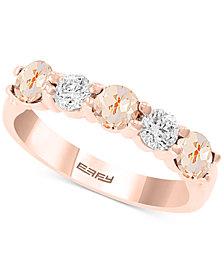 EFFY® Morganite (2-1/8 ct. t.w.) & White Sapphire (5/8 ct. t.w.) Ring in 14k Rose Gold