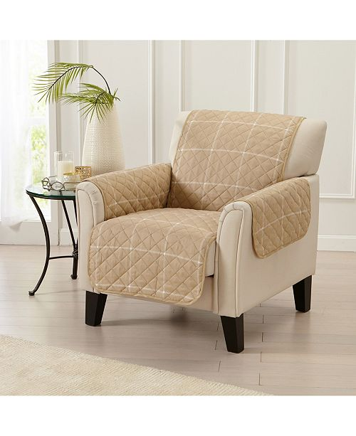 Great Bay Home Fashions Window Pane Printed Reversible Chair Furniture Protector