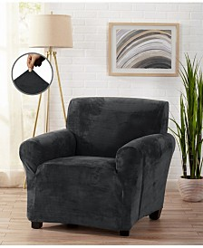 Velvet Plush Solid Form Fit Stretch Chair Slipcover