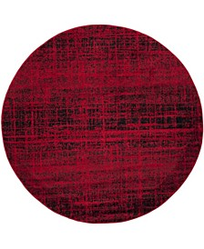 Adirondack Red and Black 4' x 4' Round Area Rug