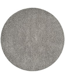 "Athens Light Gray 6'7"" x 6'7"" Round Area Rug"