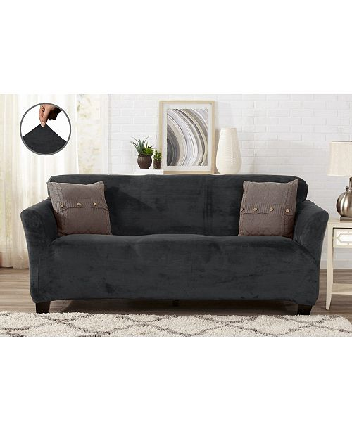 Great Bay Home Fashions Velvet Plush Solid Form Fit Stretch Sofa Slipcover