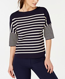 Anne Klein Striped Dolman-Sleeve Sweater