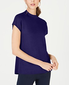 Anne Klein Mock-Neck Cap-Sleeve Sweater