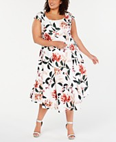 62b2d880baa Calvin Klein Plus Size Floral-Print Fit   Flare Dress