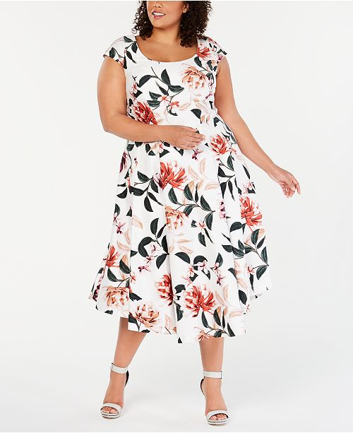 Calvin Klein Plus Size Floral-Print Fit & Flare Dress & Reviews ...