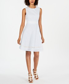 Calvin Klein Seersucker Eyelet A-Line Dress