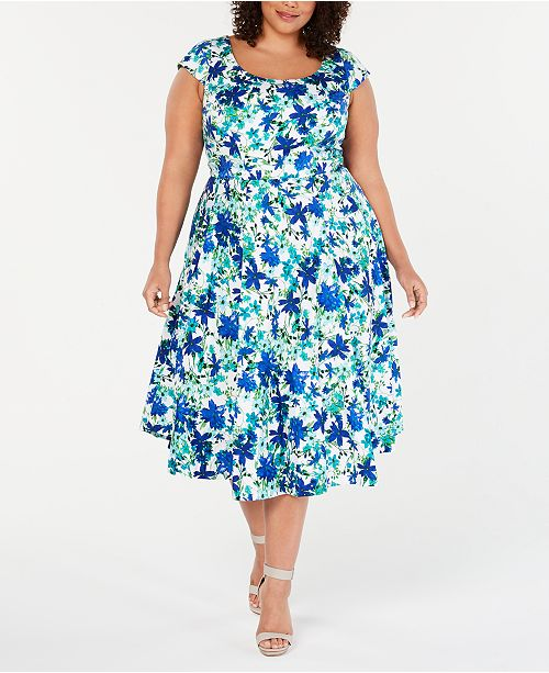 b66ae69ca0 Calvin Klein Plus Size Floral-Print Fit   Flare Dress   Reviews ...