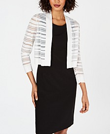 Sheer-Stripe Cropped Cardigan