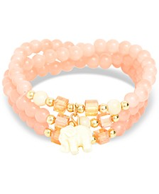 Gold-Tone Elephant Charm Beaded Multi-Row Bracelet