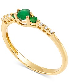 Emerald (1/3 ct.t.w.) & Diamond Accent Ring in 14k Gold
