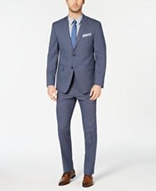 Perry Ellis Men's Slim-Fit Stretch Wrinkle-Resistant Blue Mini-Houndstooth Suit