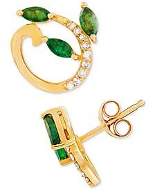 Emerald (1/2 ct. t.w.) & Diamond Accent Stud Earrings in 14k Gold