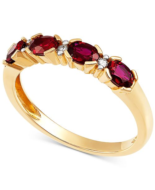 Macy's Certified Ruby (9/10 ct. t.w.) & Diamond Accent Ring in 14k Gold