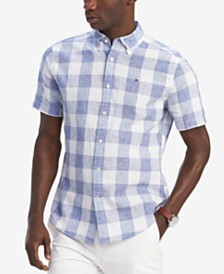 Tommy Hilfiger Men's Linen Blend Sutter Check Shirt