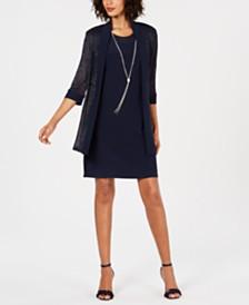 R & M Richards Petite Necklace Dress & Jacket