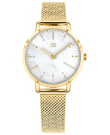 Tommy Hilfiger Women's Gold-Tone Stainless Steel Mesh Bracelet Watch 30mm, Created for Macy's