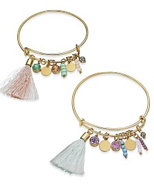 I.N.C. Gold-Tone 2-Pc. Set Crystal, Bead & Tassel Bangle Bracelets, Created for Macy's