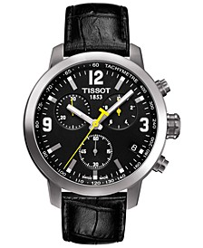 Men's Swiss Chronograph T-Sport PRC 200 Black Leather Strap Watch 41mm