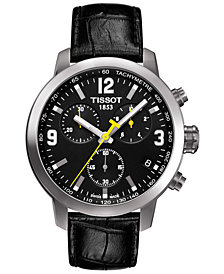 Tissot Men's Swiss Chronograph T-Sport PRC 200 Black Leather Strap Watch 41mm