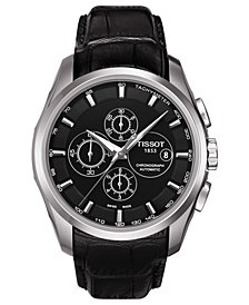 Tissot Men's Swiss Automatic Chronograph T-Classic Couturier Black Leather Strap Watch 43mm