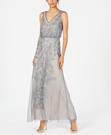 Adrianna Papell Petite Beaded Sleeveless Gown