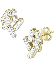 Cubic Zirconia Baguette Cluster Stud Earrings in Gold-Plated Sterling Silver