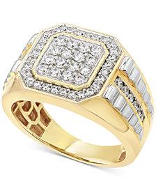 Men's Diamond Two-Tone Ring (1 ct. t.w.) in 10k Gold & White Gold