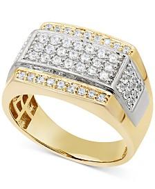 Men's Diamond Panel Ring (1 ct. t.w.) in Two-Tone 10k Gold