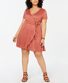 Planet Gold  Trendy Plus Size Faux-Wrap Fit & Flare Dress