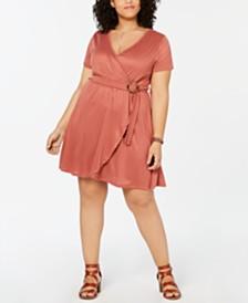 Planet Gold  Trendy Plus Size Faux-Wrap Fit & Flare Dress