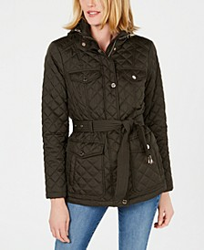 Petite Belted Hooded Quilted Jacket