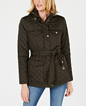 f0db3a75ce378 MICHAEL Michael Kors Belted Quilted Coat