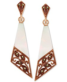 Marcasite & Mother-of-Pearl Filigree Drop Earrings in Rose Gold-Plate