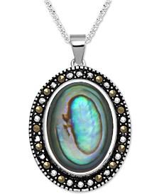 """Marcasite & Paua Shell 18"""" Pendant Necklace in Fine Silver-Plate"""