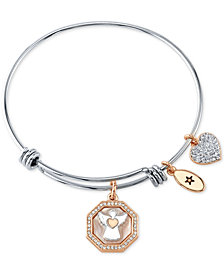 Unwritten Mother-of-Pearl Inlay & Crystal Charm Bangle Bracelet in Stainless Steel & Rose Gold-Tone
