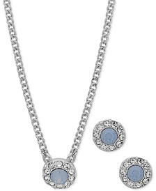 "Givenchy Pavé Pendant Necklace & Stud Earrings Set, 16"" + 3"" extender"