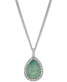 "Givenchy Pavé Pear-Shape Pendant Necklace, 16"" + 3"" extender"