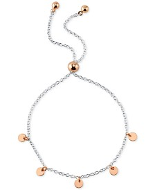 Unwritten Circle Charm Adjustable Bolo Bracelet in Sterling Silver & Rose Gold-Flash Plated Sterling Silver